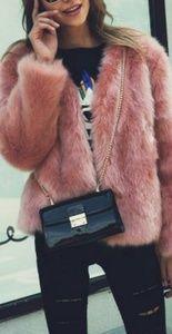 Lightweight Pink Faux Fur Jacket